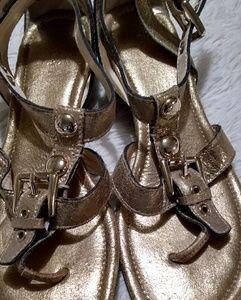 Coach Viktoria Gold leather ankle strap sandals